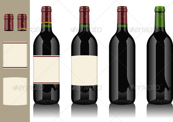 GraphicRiver Four Wine Bottles on Withe Background 4549111