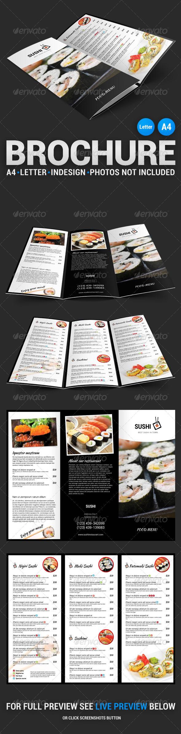 Sushi Menu Tri-Fold Brochure - Food Menus Print Templates