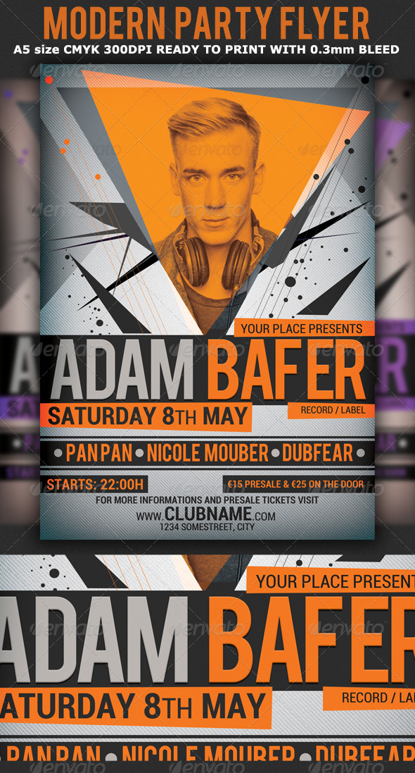 GraphicRiver Modern Minimal Party Flyer Template 4549194