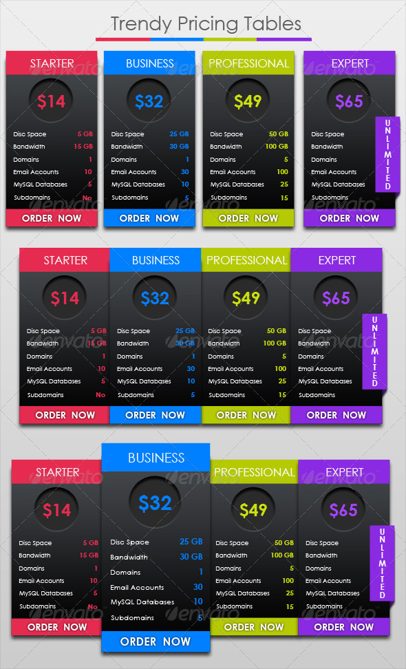 GraphicRiver Trendy Pricing Tables 4549499