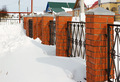 Red fence covered with snow - PhotoDune Item for Sale