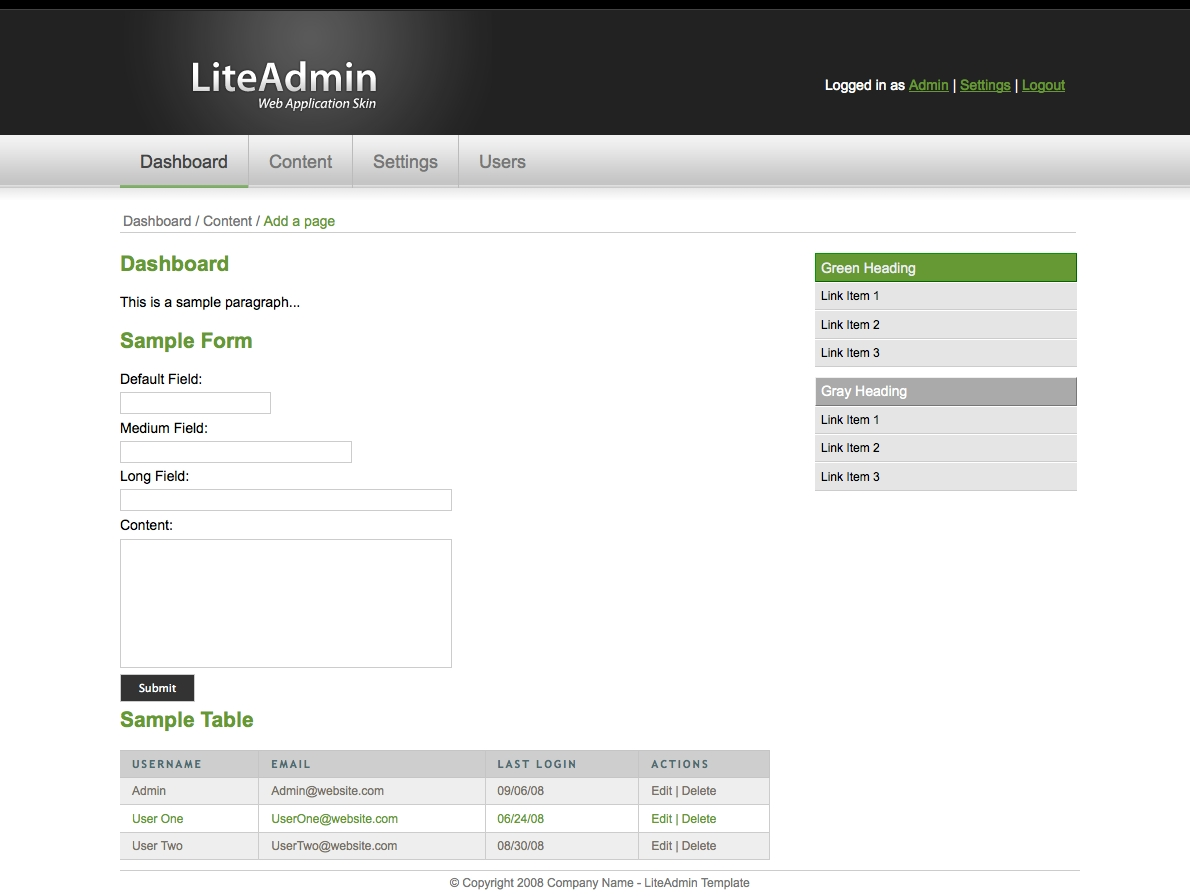 LiteAdmin - Web Application Skin - The LiteAdmin Web Application Skin gives you all of the styles that you need to jumpstart your backend Administration Template.  This template comes in 3 different colors, Green, Red, and Blue. Displayed below: Green.