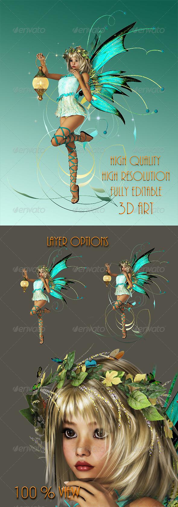 GraphicRiver Turquoise Pixie 4550542