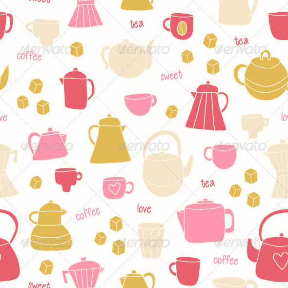 GraphicRiver Tea and Coffee Seamless Pattern 4550720