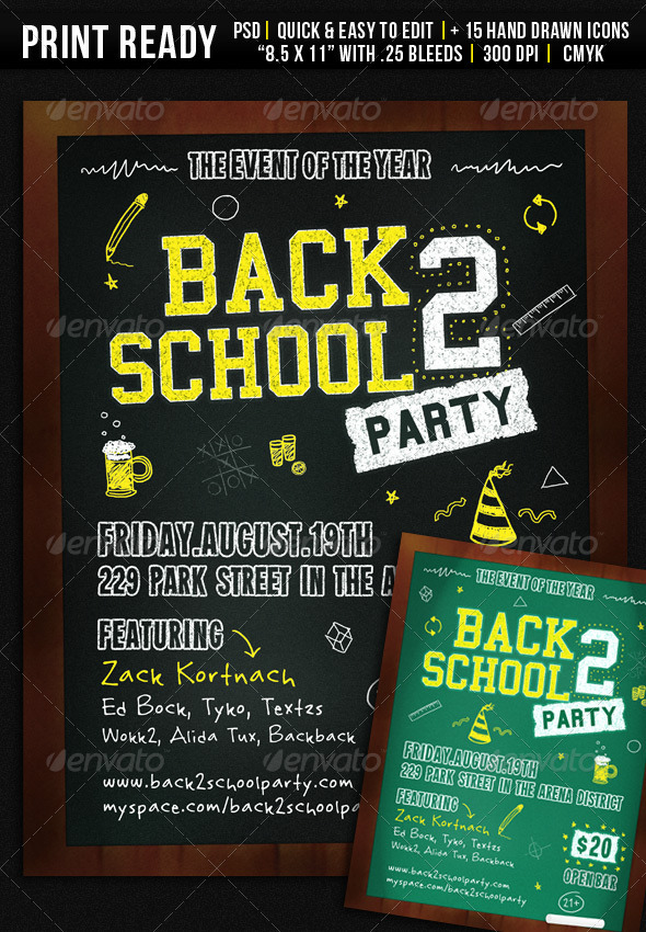 GraphicRiver Back 2 School Party Flyer 478959