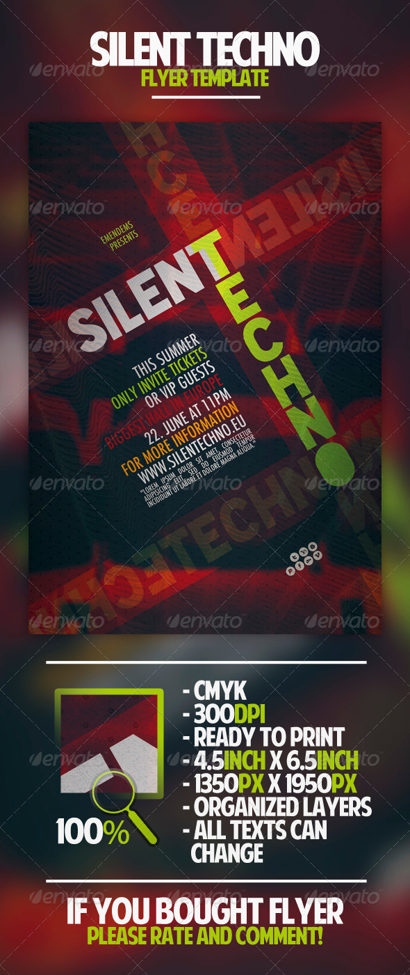 GraphicRiver Silent Techno Flyer Template 4551228