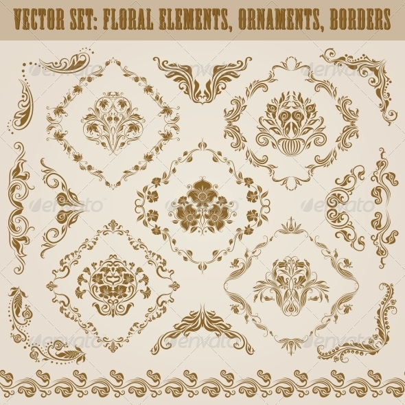 GraphicRiver Set of Vector Damask Ornaments 4551233