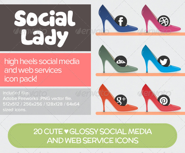 GraphicRiver Social Lady 20 Social Media & Web Service Icons 4498342