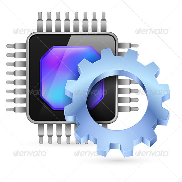 GraphicRiver Gearwheel with Processor 4551816