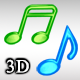 Shining 3D Music Notes - ActiveDen Item for Sale