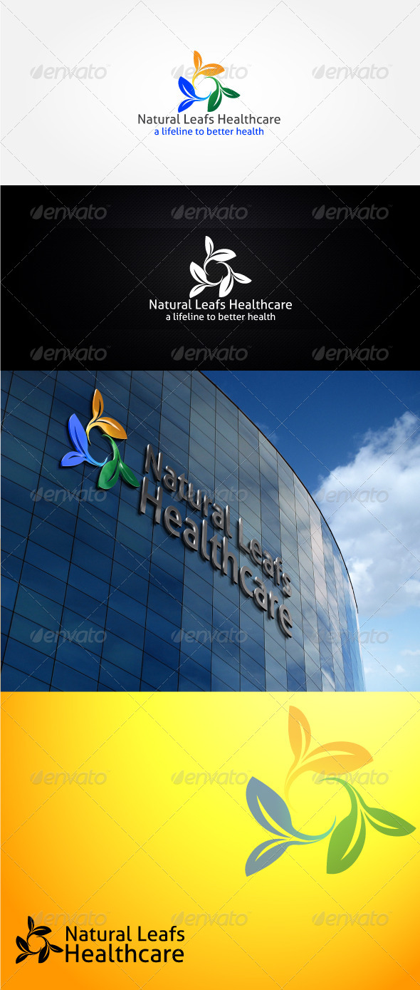 GraphicRiver Natural Leafs Healthcare Logo Template 4552149