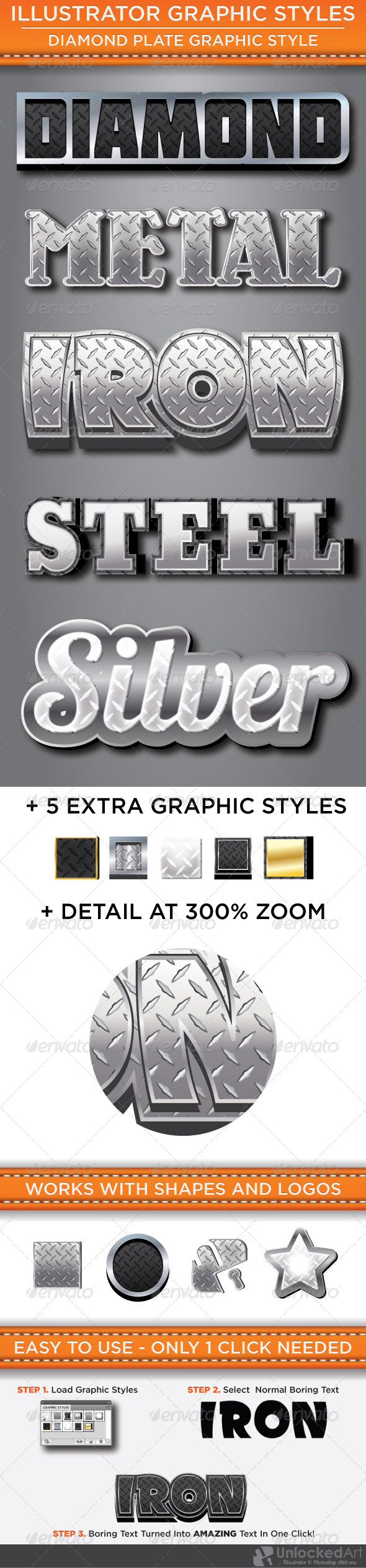 Diamond Plate Graphic Styles - Styles Illustrator
