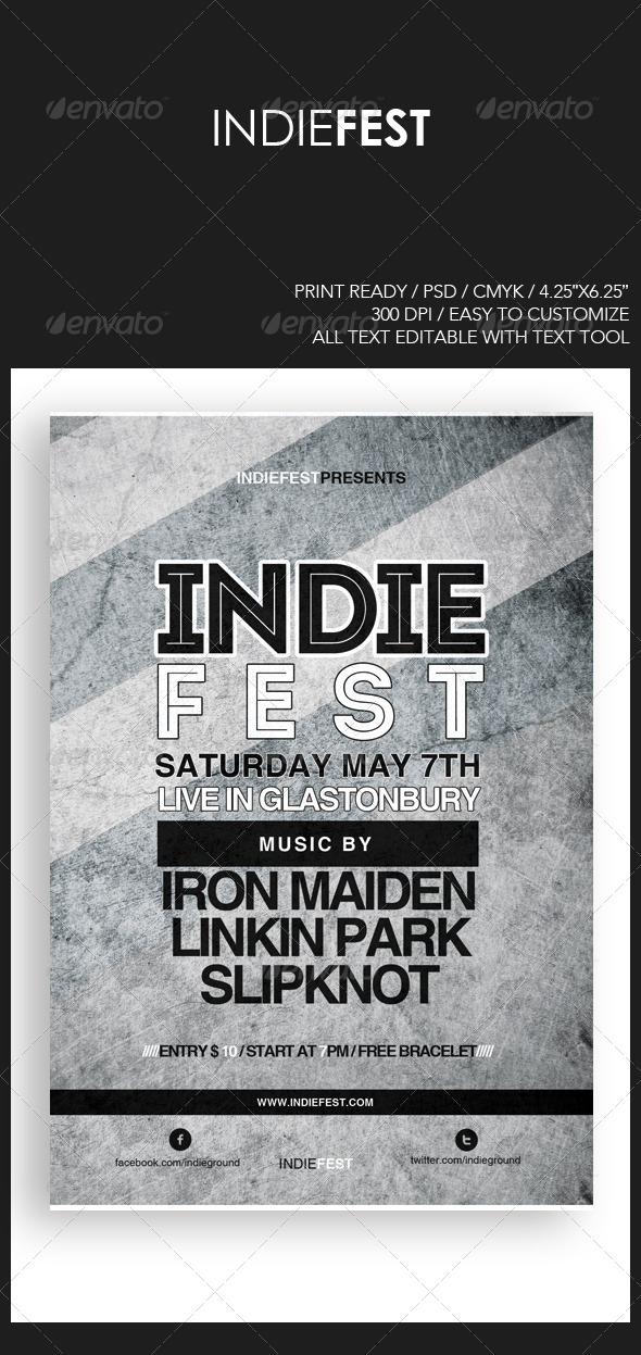 GraphicRiver Indie Fest Flyer Poster Template 4445982