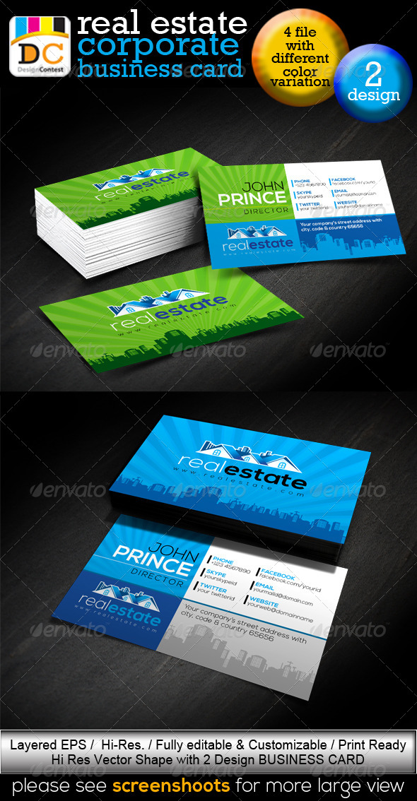GraphicRiver Real Estate Company Corporate Business Card 4552609