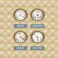 Retro styled image of old clocks with world times - PhotoDune Item for Sale
