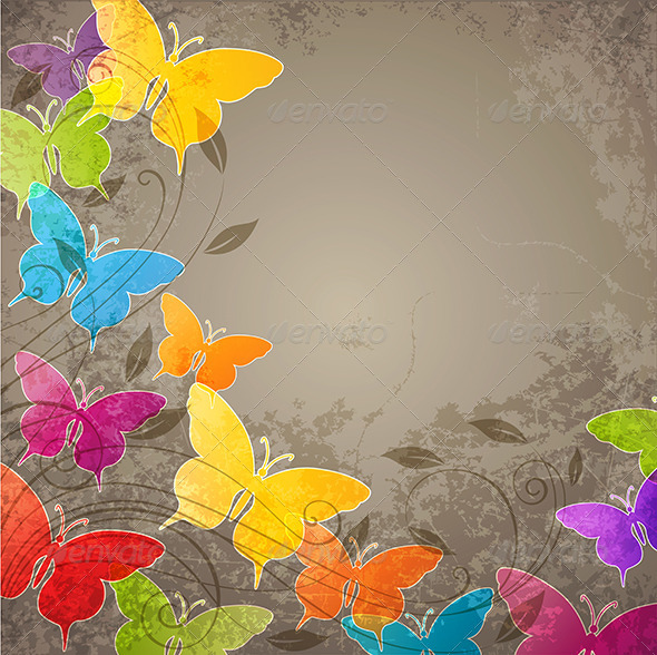 GraphicRiver Butterflies and Floral Ornament 4554285