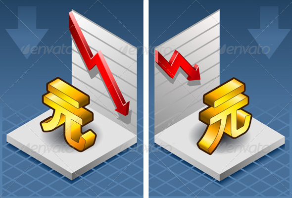 GraphicRiver Isometric Yuan Renminbi with Red Arrow Down 4554744