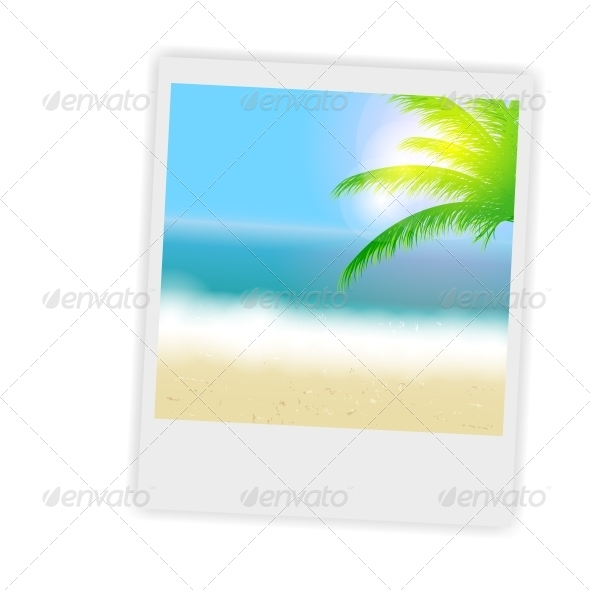 Beautiful Summer Background with Instant Photos