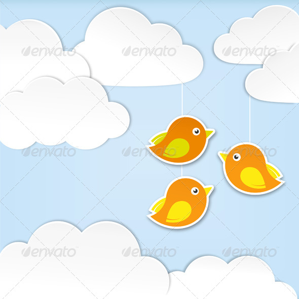 GraphicRiver Paper Clouds with Birds 4554877