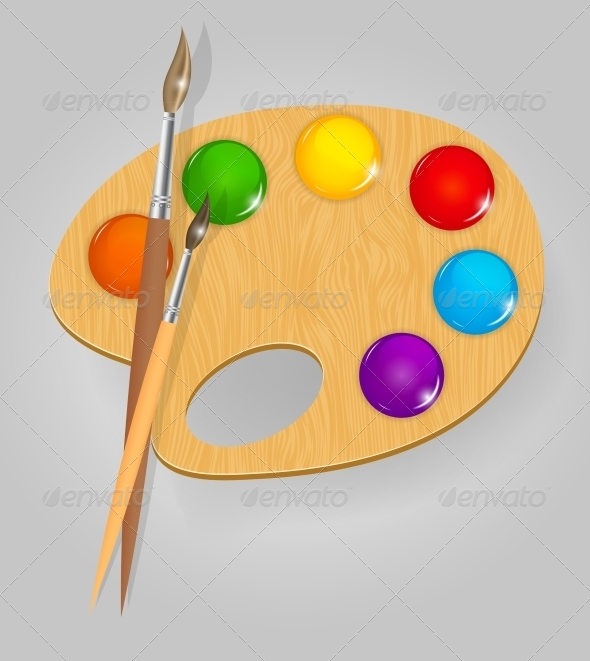 GraphicRiver Wooden Art Palette with Paints and Brushes 4554902