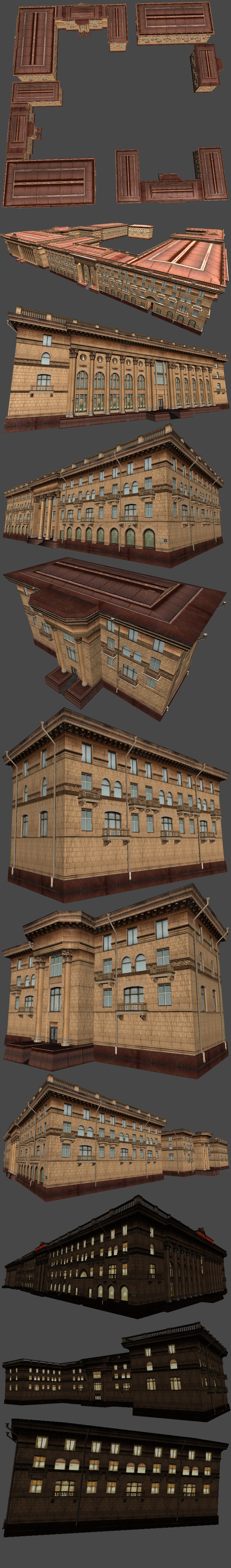 3DOcean Soviet Hotel Set of 5 Buildings 4555056