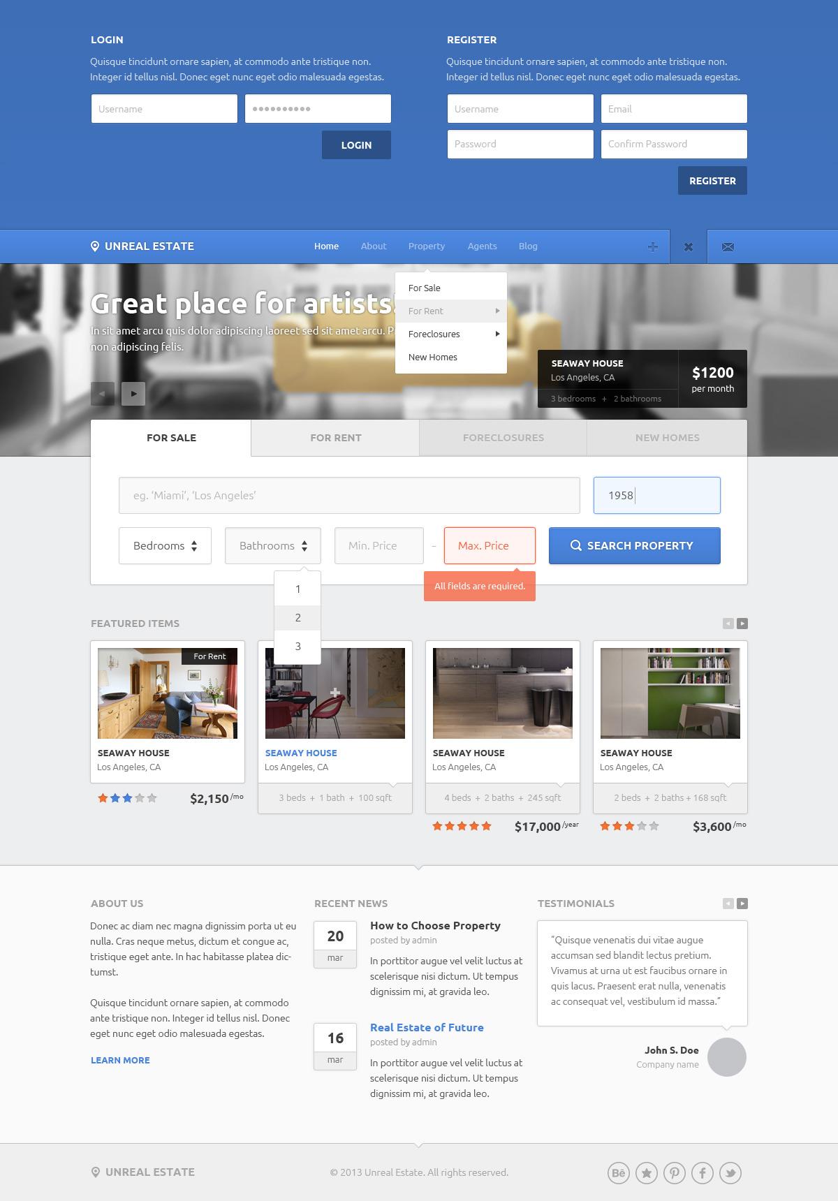 Unreal Estate - Real Estate PSD Template