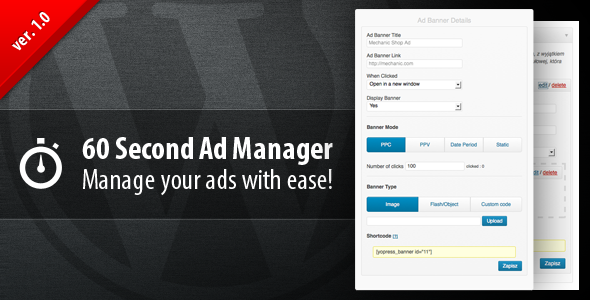 Update with static text info debug is pending 60 Second Ad Manager is a premium plug-in to manage your WordPress ads. It is powerful, simple and elegant tool t