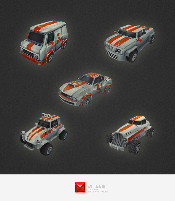 Low Poly Car Set - 3DOcean Item for Sale