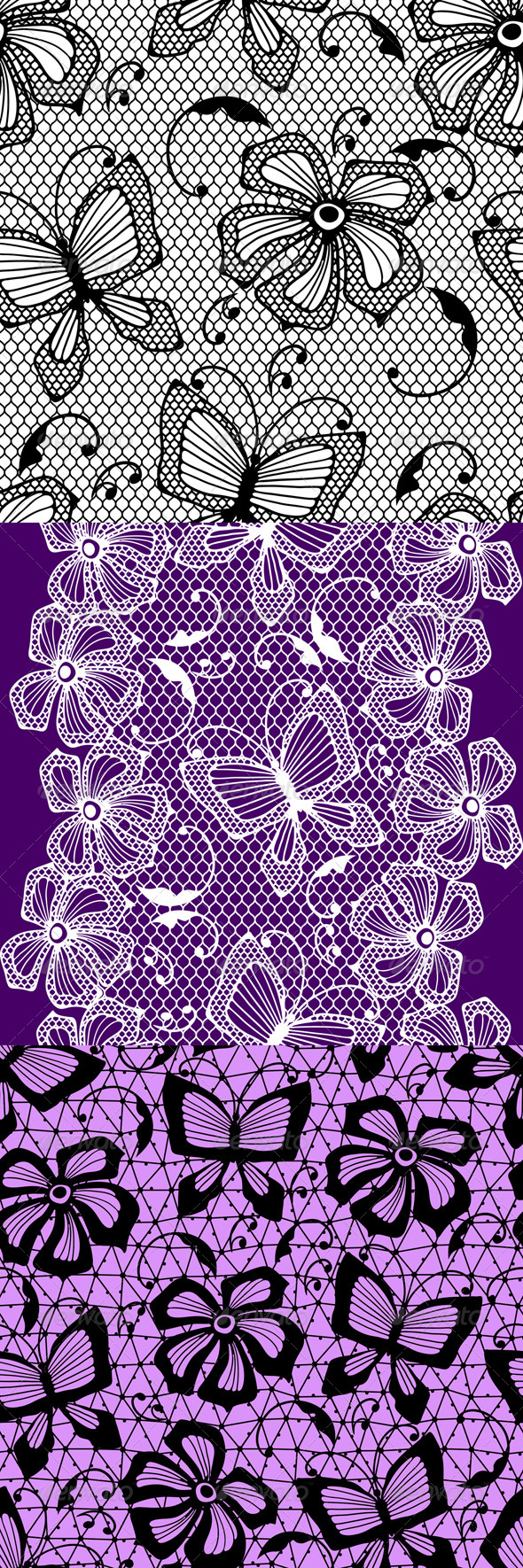 GraphicRiver Seamless Lace Patterns with Butterflies 4509751