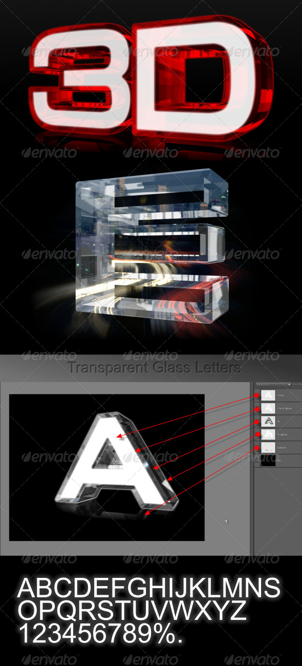 GraphicRiver Transparent Glass Glow Letters 4556618