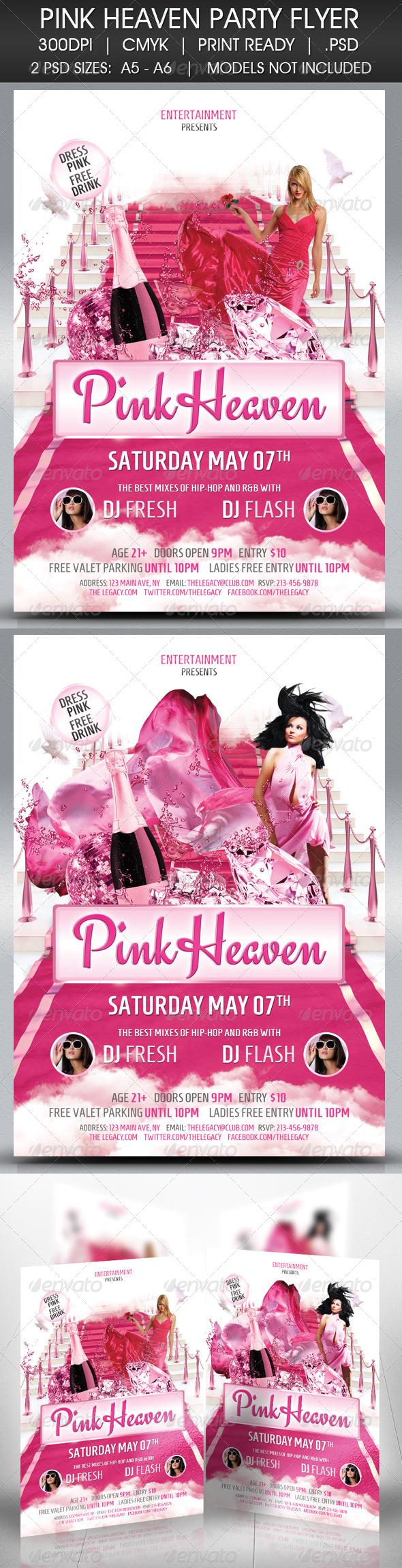 Pink Passion Affair Party Flyer - Clubs & Parties Events