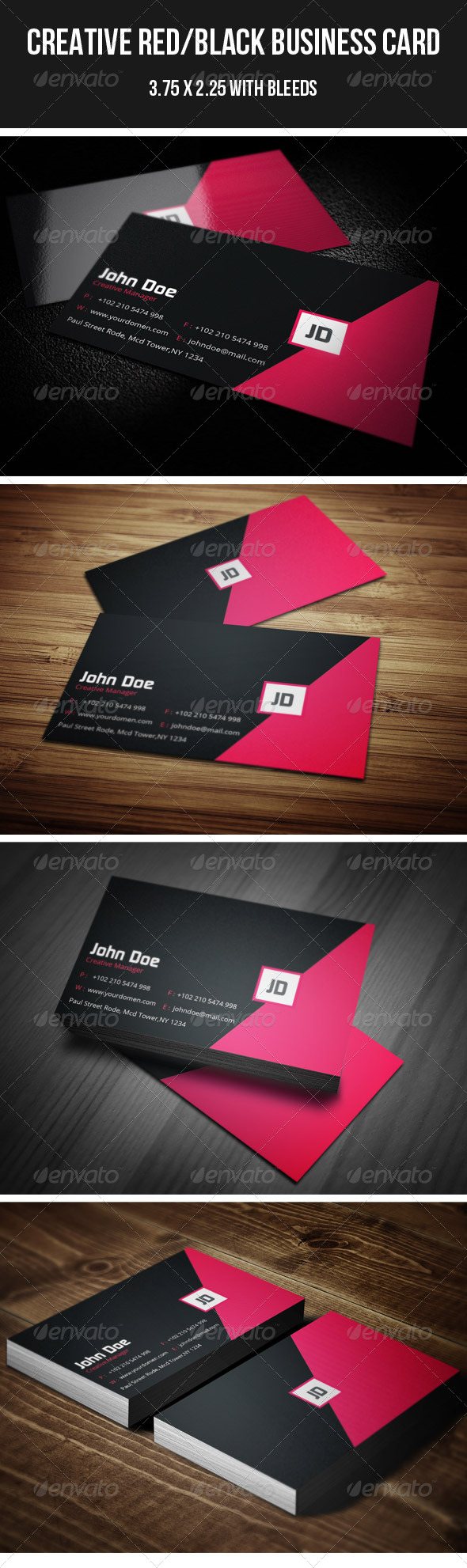 GraphicRiver Creative Red Black Business Card 37 4401998