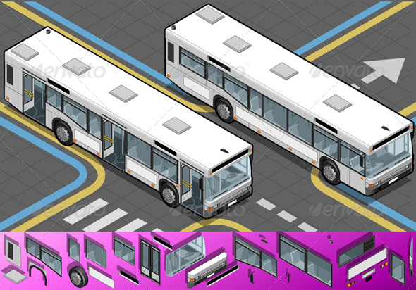GraphicRiver Isometric Bus with Opened Doors 4556907