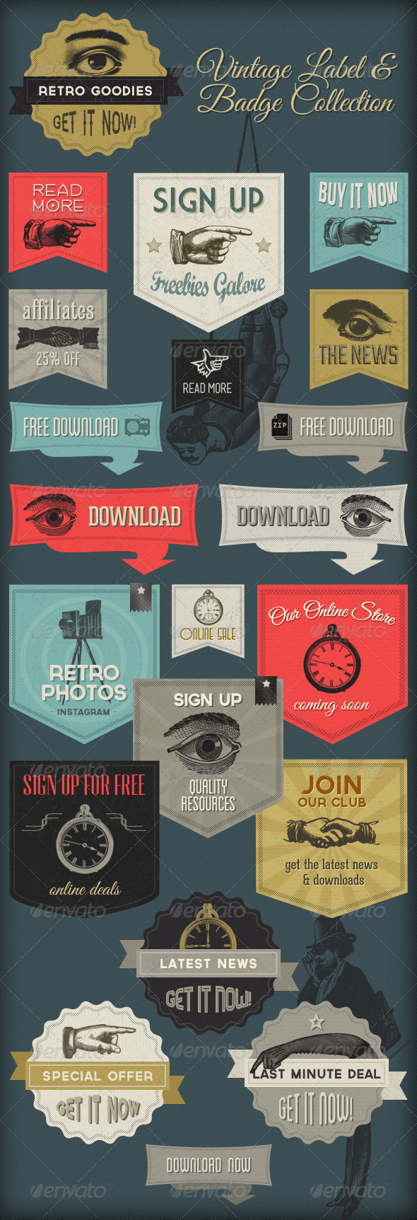 GraphicRiver Retro Labels & Badges Vintage Victorian 4557881