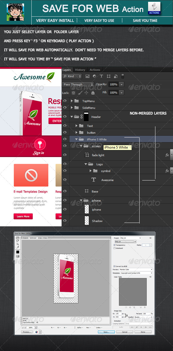 GraphicRiver Save for Web Action on Photoshop 4511551