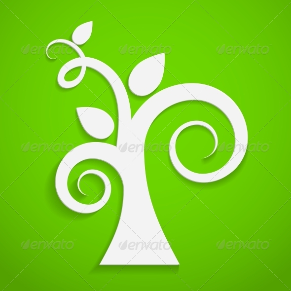 GraphicRiver Eco Icon Paper Tree 4557978
