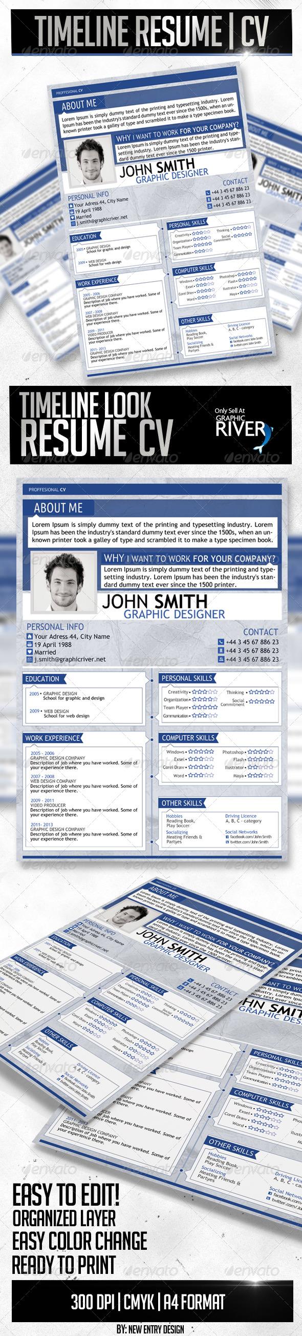 GraphicRiver Timeline Resume Template 4449007
