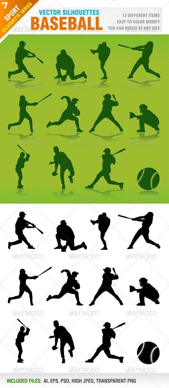 GraphicRiver Baseball Silhouettes 4558726