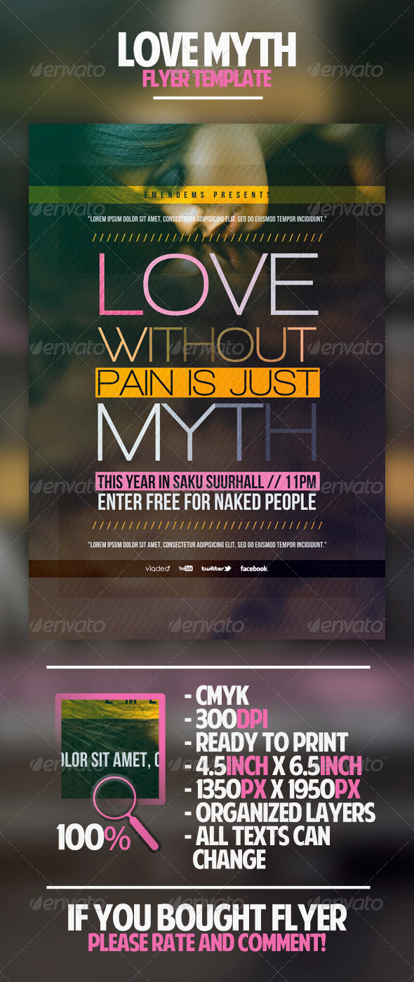 GraphicRiver Love Myth Flyer Template 4558732