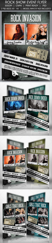 Rock Invasion Flyer - Concerts Events