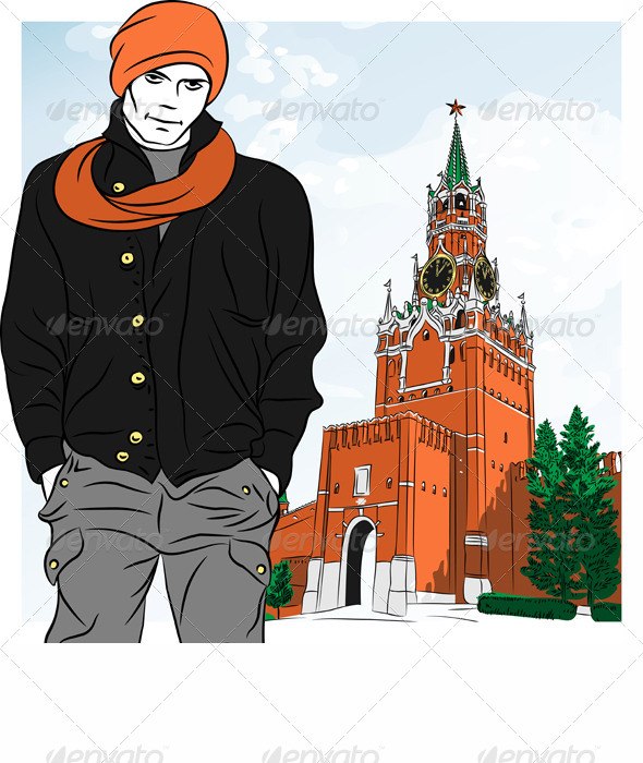 GraphicRiver Vector Sketch of the Stylish Guy in Moscow 4558895