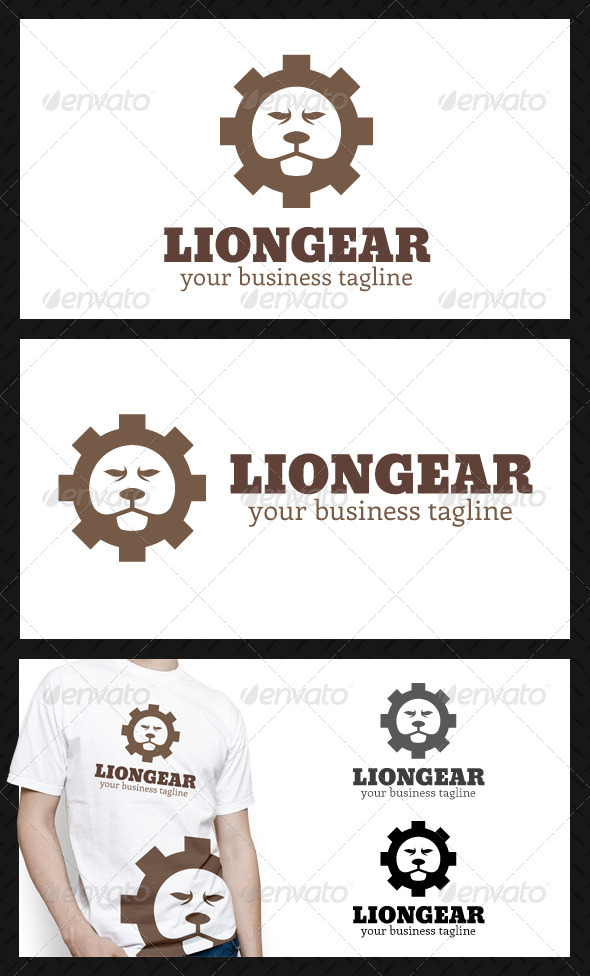 Lion Gear Logo Template