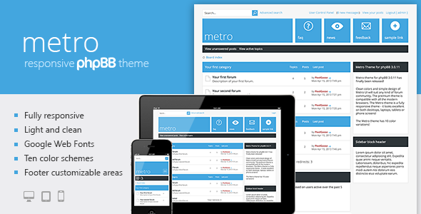DOWNLOAD - Metro — A Responsive Theme for phpBB3