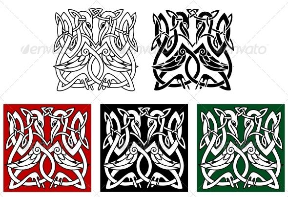 GraphicRiver Heron Birds Ornament 4559292