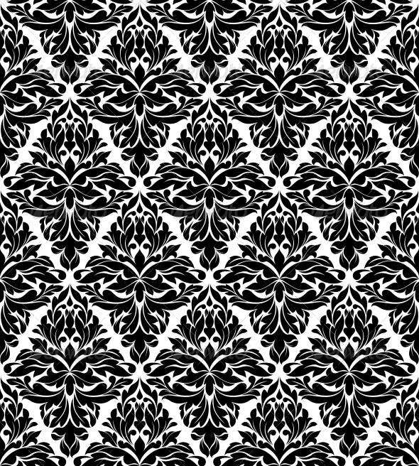 Seamless Background in Damask Style - Backgrounds Decorative