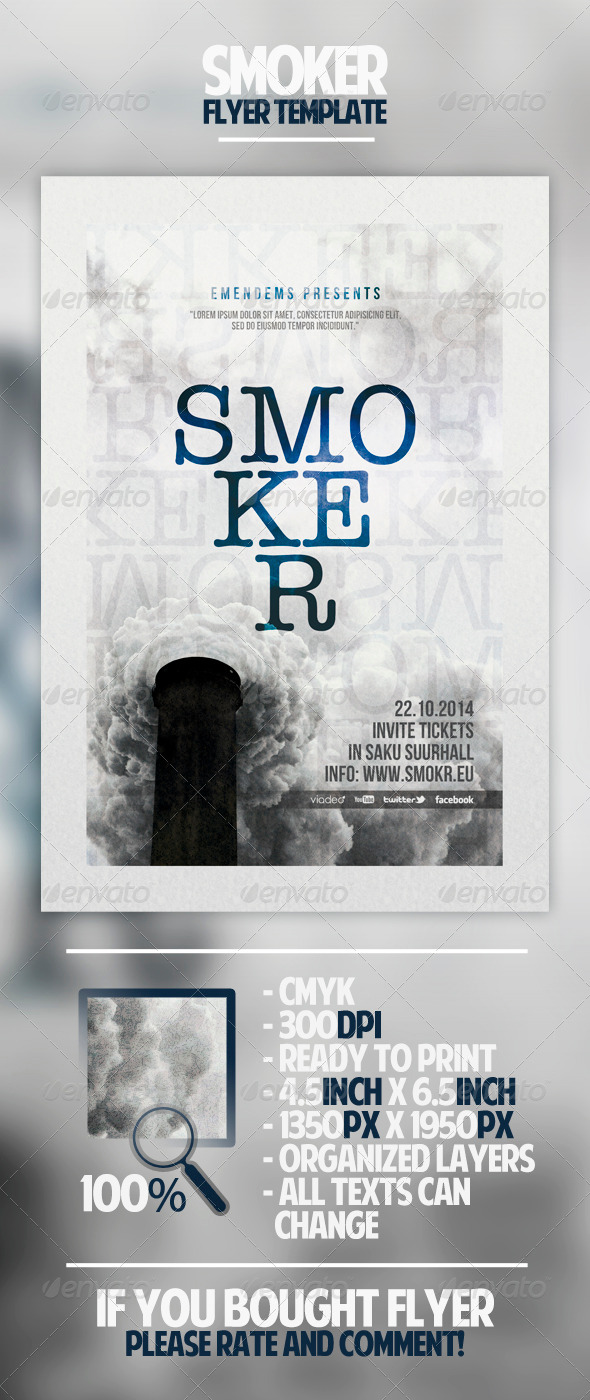 GraphicRiver Smoker Flyer Template 4559607