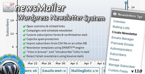 CodeCanyon newsMailer WordPress Newsletter System Plugin 4559728