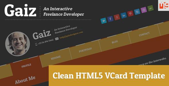 ThemeForest Gaiz Clean Horizontal Scrolling Responsive Vcard 4552964