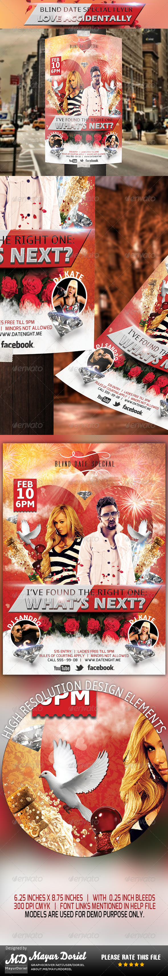 Love Accidentally Flyer Template - Clubs & Parties Events