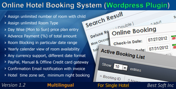 Online Hotel Booking System WordPress